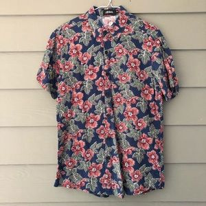 Tropical floral short sleeve button down